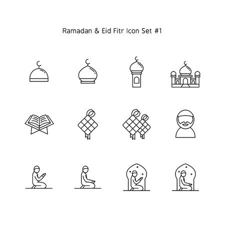 simple line ramadan kareem and eid al fitr icon set. Islam tradition, muslim holiday illustration