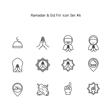 ramadan kareem and eid al fitr simple line icon set. Islam tradition, muslim holiday illustration