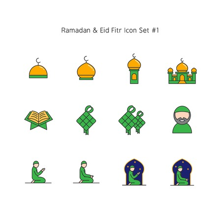 simple color line ramadan kareem and eid al fitr icon set. Islam tradition, muslim holiday illustration