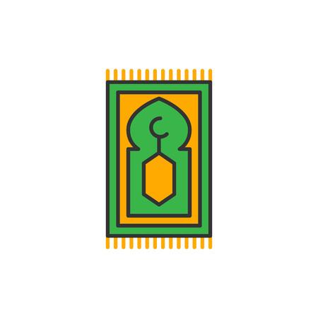 Islam prayer rug for shalat. Simple monoline icon style for muslim ramadan and eid al fitr celebration.