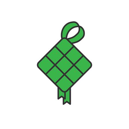 Ketupat traditional food. Simple monoline icon style for muslim ramadan and eid al fitr celebration. Stock Vector - 116046499