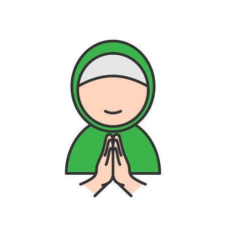 Muslim woman with forgive hand symbol. Simple monoline icon style for muslim ramadan and eid al fitr celebration.