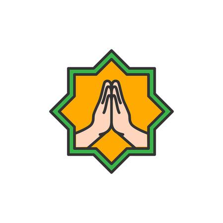 Islam Forgive hand symbol. Simple monoline icon style for muslim ramadan and eid al fitr celebration.