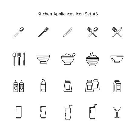 kitchen appliances simple line icon set. household illustration collection. Stockfoto - 116465195