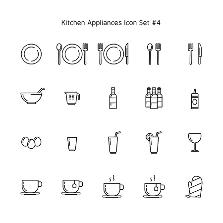 kitchen appliances simple line icon set. household illustration collection.
