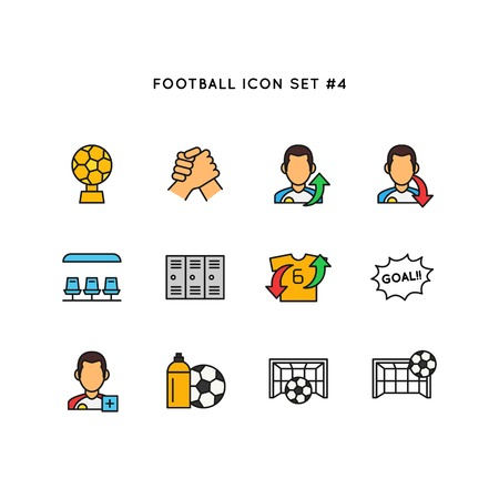 Football sport icon set. Soccer object illustration. Simple clean line colored symbol.