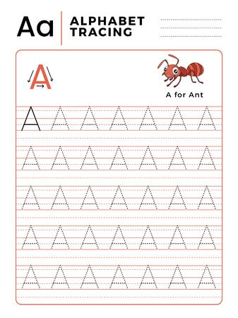 Letter A Alphabet Tracing Book with Example and Funny Ant Insect Cartoon. Preschool worksheet for practicing fine motor skill. Vector Illustration for Children.
