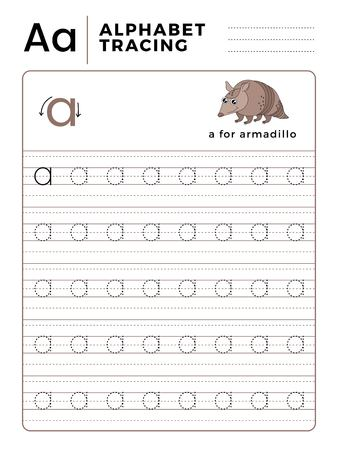 Letter A Alphabet Tracing Book with Example and Funny Armadillo Cartoon. Preschool worksheet for practicing fine motor skill. Vector Illustration for Children. Çizim
