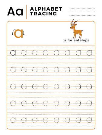 Lettre A Alphabet Tracing Book avec exemple et dessin animé drôle de cerf antilope. Feuille de travail préscolaire pour pratiquer la motricité fine. Illustration vectorielle pour les enfants.