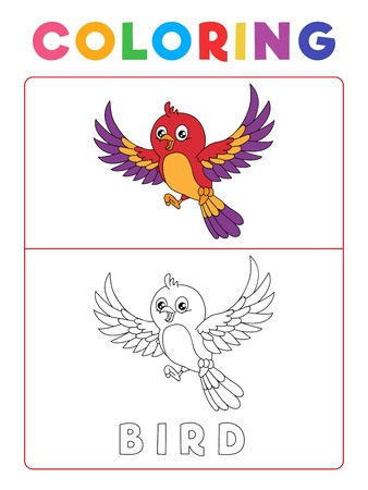 Funny Bird Coloring Book with Example. Preschool worksheet for practicing fine colors recognition skill. Vector Animal Cartoon Illustration for Children. Çizim