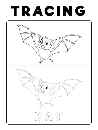 Funny Bat Tracing Book with Example. Preschool worksheet for practicing fine motor skill. Vector Animal Cartoon Illustration for Children. Vectores