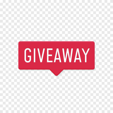 Giveaway sign template for social media post or website button. Give away text with red label background vector design