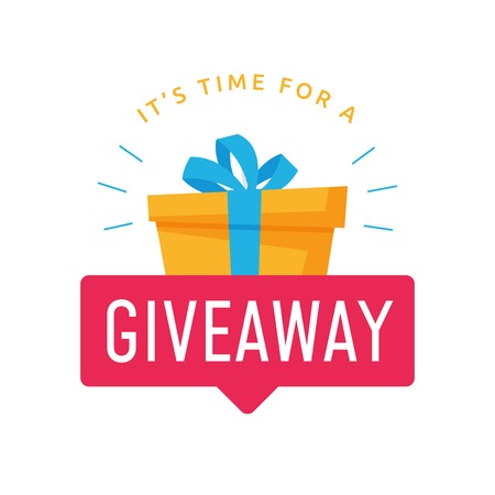 Giveaway logo template for social media post or website banner. Give away text with red label and gift box background vector design