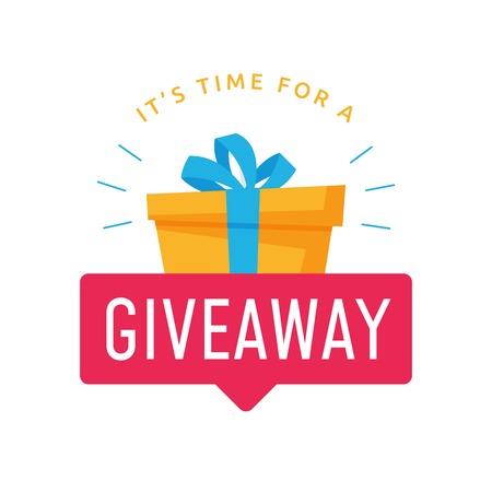 Giveaway-logosjabloon voor social media-post of websitebanner. Geef tekst weg met rood etiket en vectorontwerp als achtergrond Logo