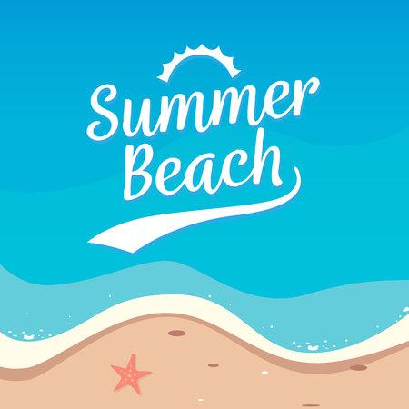 Summer Beach holiday background vector design. Top view beach illustration. Illustration
