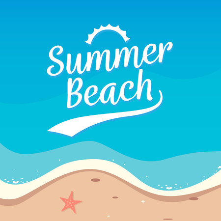 Summer Beach holiday background vector design. Top view beach illustration. Ilustração