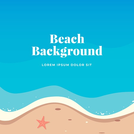Top view summer beach vector illustration for background design with text template.