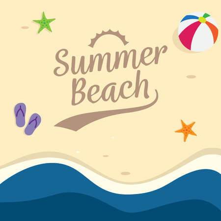 Summer beach holiday background design. top view beach vector illustration. Ilustração