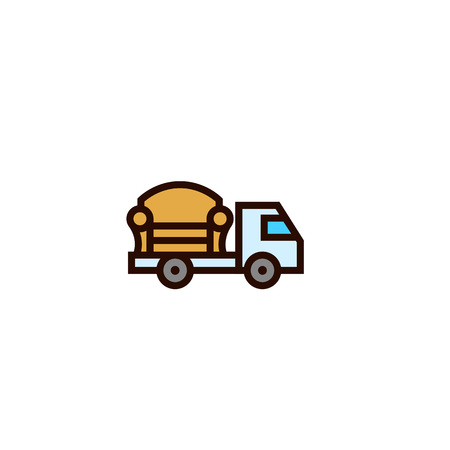 furniture shipping truck icon. in house object delivery concept. simple clean thin outline style design. Vektoros illusztráció