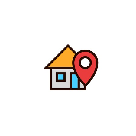 home locator icon. house with pin location symbol. simple clean thin outline style design.
