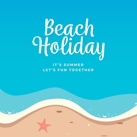 Beach holiday background vector design. Top view summer beach illustration.