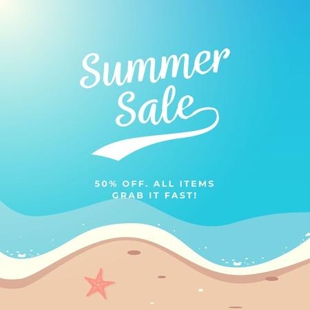 Summer Sale background vector design. Top view beach illustration.
