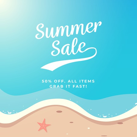 Summer Sale background vector design. Top view beach illustration.