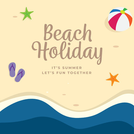 Beach Holiday background design. top view summer beach vector illustration.