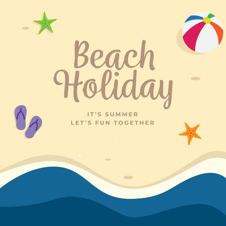 Beach Holiday background design. top view summer beach vector illustration.