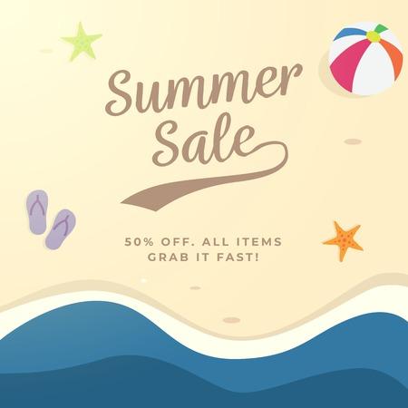 Summer sale background design. top view beach vector illustration. Illustration