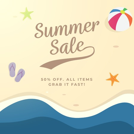 Summer sale background design. top view beach vector illustration. Ilustração