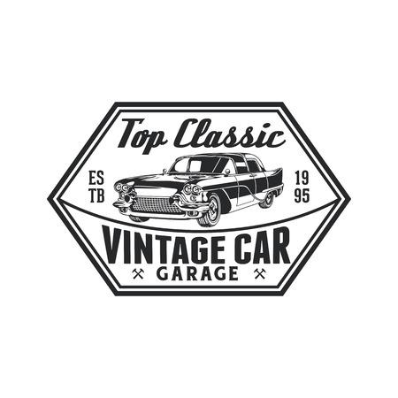 Vintage classic car repair garage logo badge design. Old retro style label vector template.