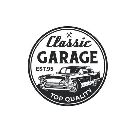 Vintage Oldtimer Reparatur Garage Logo Abzeichen Design. Alte Retro-Stil-Label-Vektor-Vorlage.