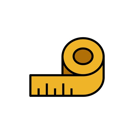 body measuring tape icon. sewing ruler gauge symbol. simple vector graphic Stock Vector - 117697422