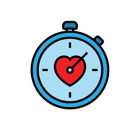 workout stopwatch icon. stopwatch with love symbol. simple vector graphic