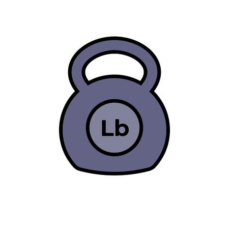 kettlebell icon fitness exercise equipment with pound unit symbol. simple vector graphic