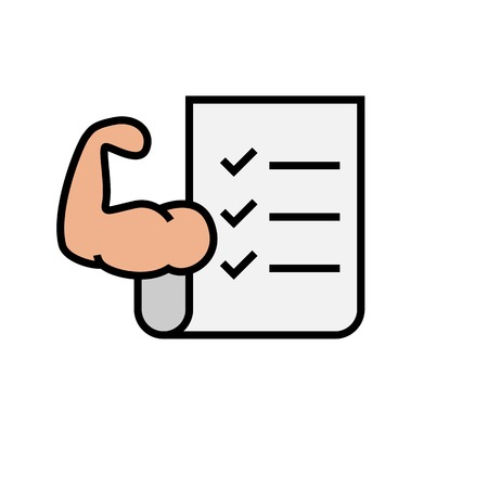 fitness exercise plan icon. workout list sheet with hand muscle symbol for bodybuilding program. simple vector graphic