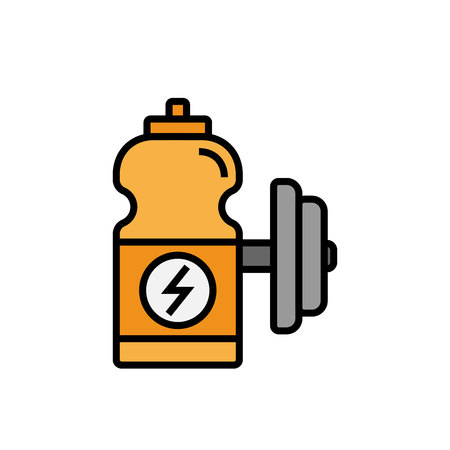 energy drink icon. sport drink bottle with dumbbell illustration. simple vector graphic. Vector Illustration