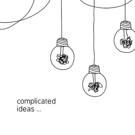 no creativity complicated idea concept illustration. simple line hanging light bulb with tangled filament thread vector background design.