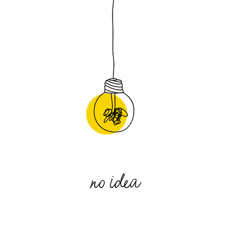 no creativity complicated idea concept illustration. simple line hanging light bulb with yellow background and tangled filament thread vector design.