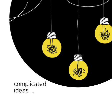 no creativity complicated idea concept illustration. simple line hanging light bulb with yellow background and tangled filament thread vector background design.