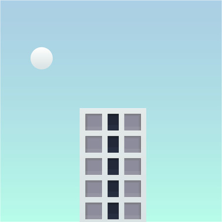 one tall building in the future fantasy world vector illustration. big building and small planet with soft blue sky background design. 일러스트