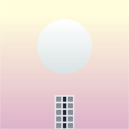 one tall building in the future fantasy world vector illustration. small building and big planet with soft sky background design.