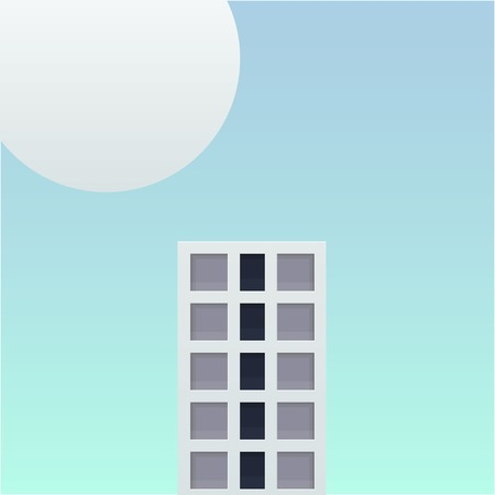 one tall building in the future fantasy world vector illustration. big building and big planet with soft blue sky background design.