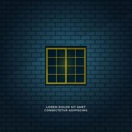 night scene quiet room seen form outside window minimal illustration concept. closed square window and blue brick wall background vector design.