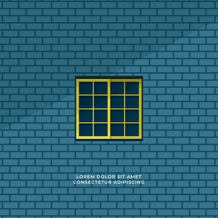 quiet room seen form outside window minimal illustration concept. closed square window and blue brick wall background vector design. Иллюстрация