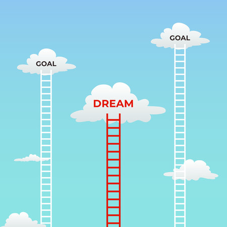 goal and dream. dream under goals mindset visual concept design. cloud in the sky and tall ladder with text vector illustration. Ilustração