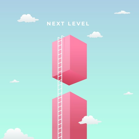 pass the challenge to reach the goal visual concept with minimalist art design. high giant wall towards the sky and tall ladder vector illustration.