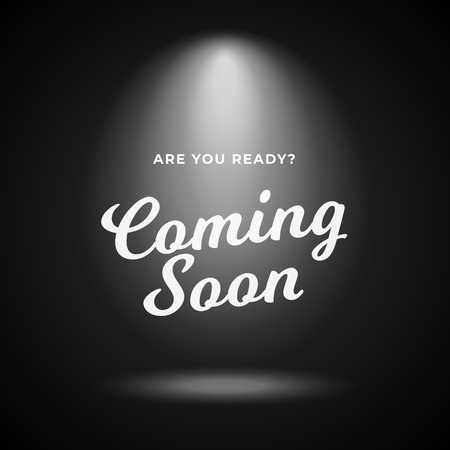 Mystery product coming soon poster background. Night scene black backdrop with bright spotlight and calligraphy text illustration. Ilustrace