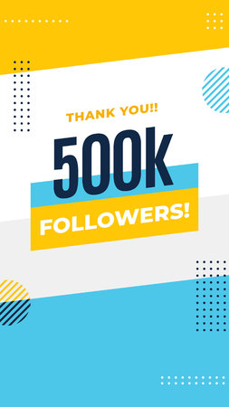 Thank you 500k followers story post background template design. flyer banner for celebrating many followers in online social media platform. Minimal modern abstract vector style.